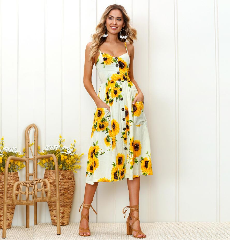 f7ebe8900 Detail Feedback Questions about Casual Vintage Sundress Women Summer Dress  2019 Boho Sexy Dress Midi Button Backless Polka Dot Striped Floral Beach  Dress ...