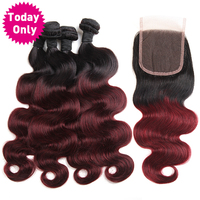 TODAY ONLY Burgundy Brazilian Hair Body Wave 3 Bundles With Closure Ombre Human Hair Bundles