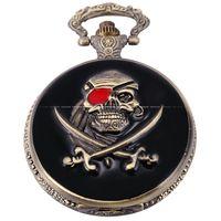 New Fashion Vintage Classic Retro Antique One Eyed Skull Pirate Copper Pocket Quartz Men S Gift