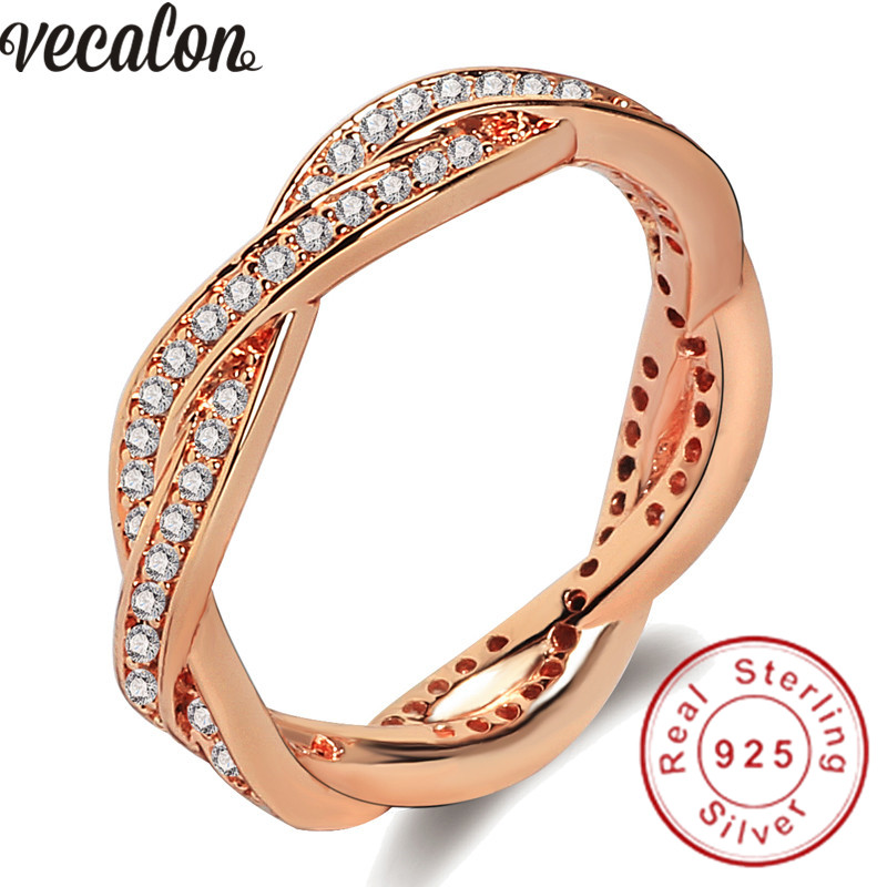 Vecalon 2 colors Cross Jewelry Women Finger ring AAA Cubic Zirconia 925 Sterling silver Party wedding ring for women men Fashion