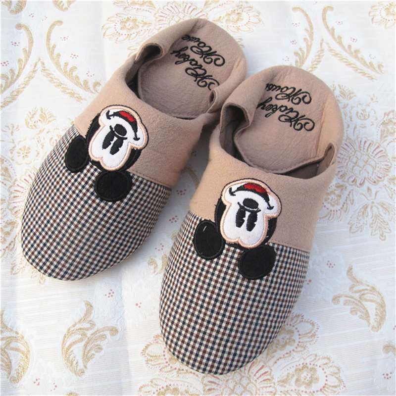 New Cotton Slippers Women Spring/Autumn Home Shoes Cartoon Mickey/Minnie Casual Non-slip Indoor Flat with Shoes Female pantufa vanled 2017 new fashion spring summer autumn 5 colors home plush slippers women indoor floor flat shoes free shipping