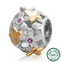 ChaWin Vàng Bướm và Hoa Charm Gốc 100% Authentic 925 Sterling Silver Beads phù hợp cho Pandora lắc & Necklaces