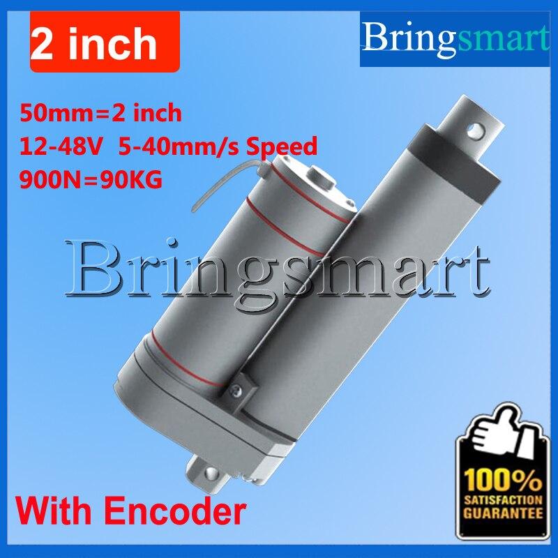 цена на Bringsmart Hot L-TGA-Y 50mm 2 Inch electric linear actuator with Encoder 900N 90KG load 12-48V Tubular Motor Stroke