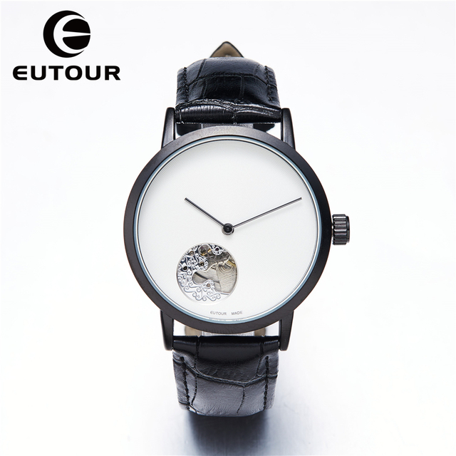 Eutour top Simple Automatic Classic Skeleton Men's Mechanical Stainle Business dress Watches male Minimalist  Clock wristwatches