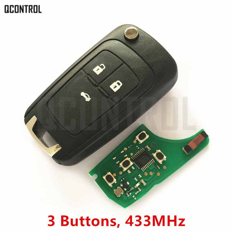 QCONTROL 3 Buttons Car Remote Key DIY for OPEL/VAUXHALL Astra J, Corsa E, Insignia, Zafira C 2009-2016