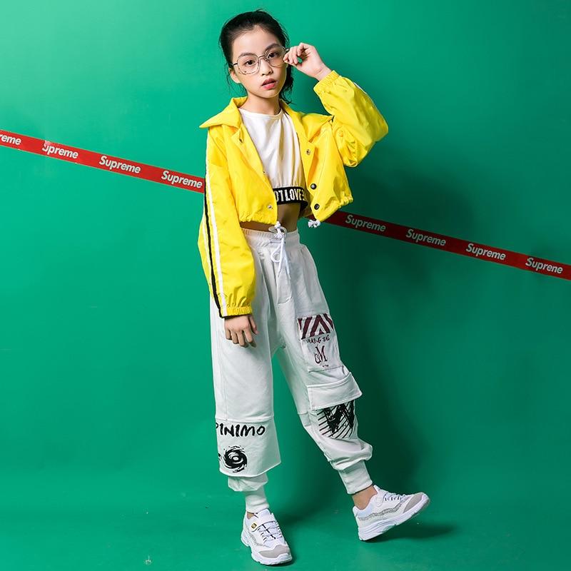 Kids Hip Hop Clothes Dance Costume For Girls Color Block Jacket Ballroom Dancing Clothing Crop Tank Tops Jogger Pants Streetwear