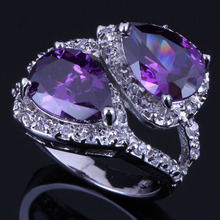 Fabulous Pear Purple Cubic Zirconia White CZ 925 Sterling Silver Ring For Women V0471