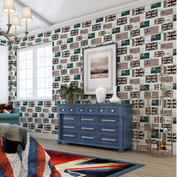 England Style Vintage Flag Wallpaper Environmental 4 Colors Non Woven Mural Wall Paper For Home Decor