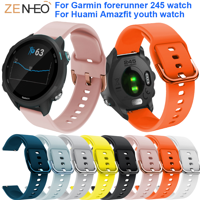 20mm Silicone Watch Band For Garmin Forerunner 245 Strap For Samsung Galaxy Watch 42mm/Gear S2/Gear Sport Straps Watches Bands