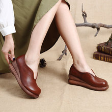 Original design casual women shoes cowhide leather pumps women thick heel wedges platform slip on shoes spring fall