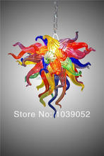 лучшая цена Free Shipping Colorful Indoor Lighting Hand Blown Art Glass Chandelier