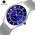 Новый роскошный бренд WWOOR мужские Ультра тонкие водонепроницаемые деловые часы простые мужские кварцевые наручные часы мужские серебряные...
