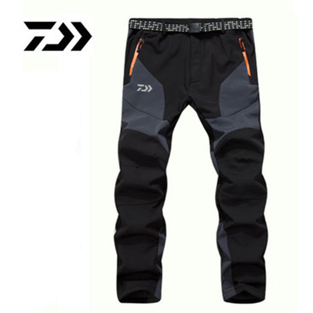 2018 Autumn Winter Daiwa Fishing Pants Warm Fleece Waterproof Soft Shell Pants Patchwork Outdoor Cold Proof Clothes