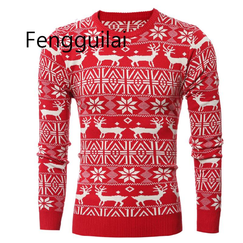 Winter Christmas Sweater Men Fashion Deer Print Jumper Pullover Sweater Long Sleeve Warm Casual Elk Knit Sweater Tops New Year