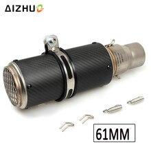 51mm 61mm Motorcycle Exhaust Muffler Pipe Escape Exhaust Carbon Fiber for yamaha r15 mt07 tmax 530 fz8 fz6 mt03 xt 600 ybr 125