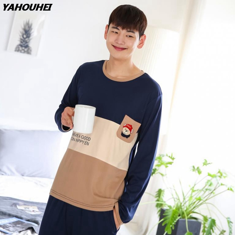 2019 Autumn Winter Cotton Pajamas Sets For Men Long Sleeve Cartoon Pyjamas Sleepwear Suit Male Homewear Lounge Wear Home Clothes