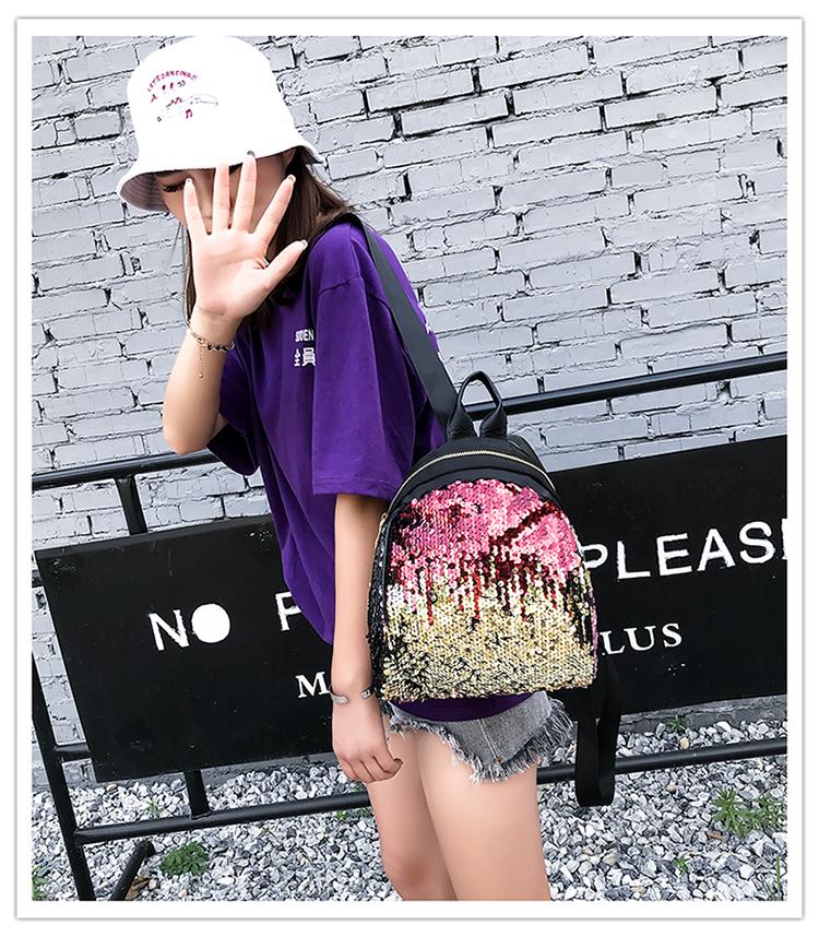Backpacks women Korean mini 2018 new sequined shell fashion trend women go with small backpacks travel backpack 80
