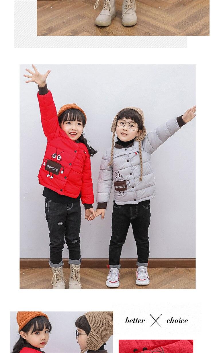 2018 Baby Boys Children Outerwear Coat Kids Jackets For Boy Girls Winter Jacket Warm Hooded Children Clothing Gray Khaki Red (11)