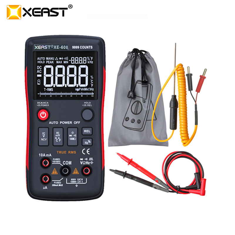 XEAST XE 608 True RMS Digital Multimeter Button 9999 Counts With Analog Bar Graph AC DC