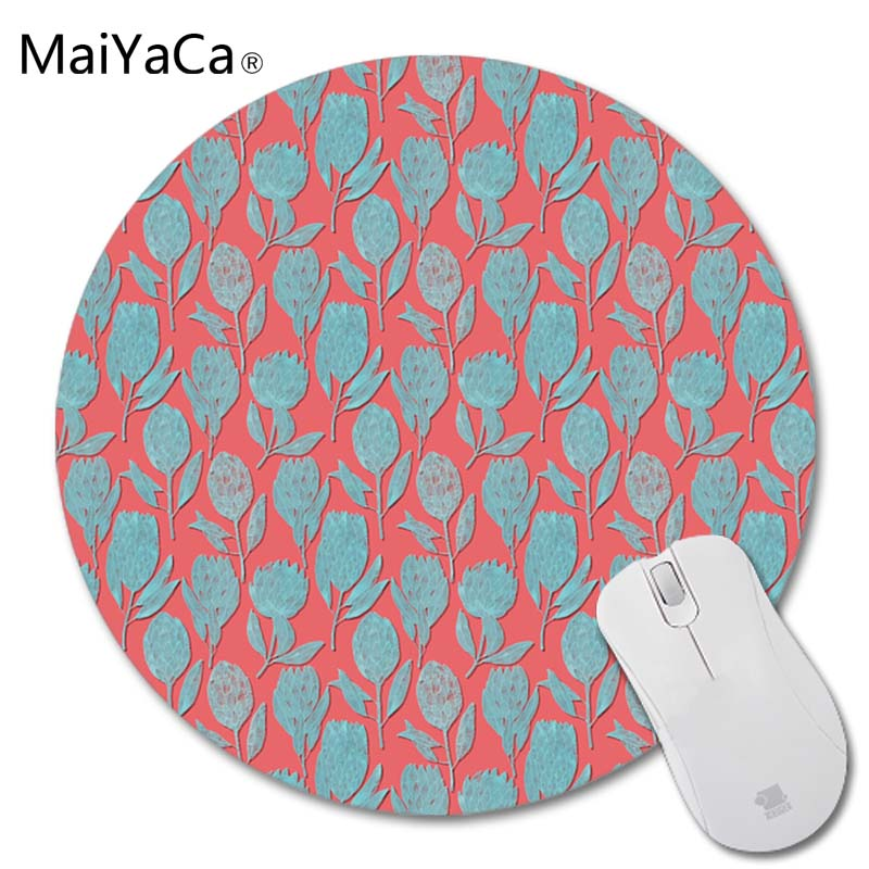 MaiYaCa Protea on Coral Red Hearts Red Mushrooms Field New Small Size Round Mouse Pad Non-Skid Rubber Pad 200mmX200mmX2mm