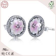 Одежда высшего качества Популярные и модные Новая коллекция розовой эмалью Магнолия дизайн 925 Серебряный цветок Стад Серьги