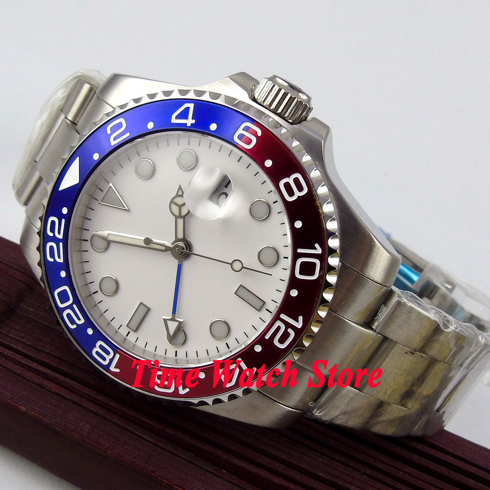 43mm Bliger white Sterile dial GMT red&blue Bezel sapphire glass Automatic movement Men's watch 356 все цены