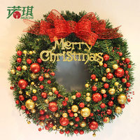 60cm Christmas wreaths green with red gold fruit and bows ornaments Christmas decorations for home decoration Christmas ornament