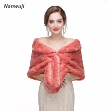 2018 New Arrival Wedding Warp Faux Shawl  Brown Bridal Jackets Accessories Gift Off The Shoulder 165*30CM In Stock
