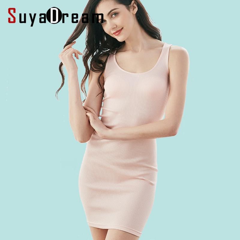 80%Natural Silk 20%Cotton Women Tight dress Solid Health knit slips Sleeveless Rib knits slim Under dress New