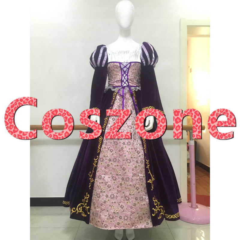 Tangled Rapunzel Cosplay Costume Deluxe Princess Dress Evening Ball Gown Halloween Carnival Party Costume Custom