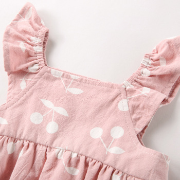 Baby Clothes baby rompers New Summer Clothes 2019 spring Fashion cute cherry Prints kids clothing rompers dress with hat 1