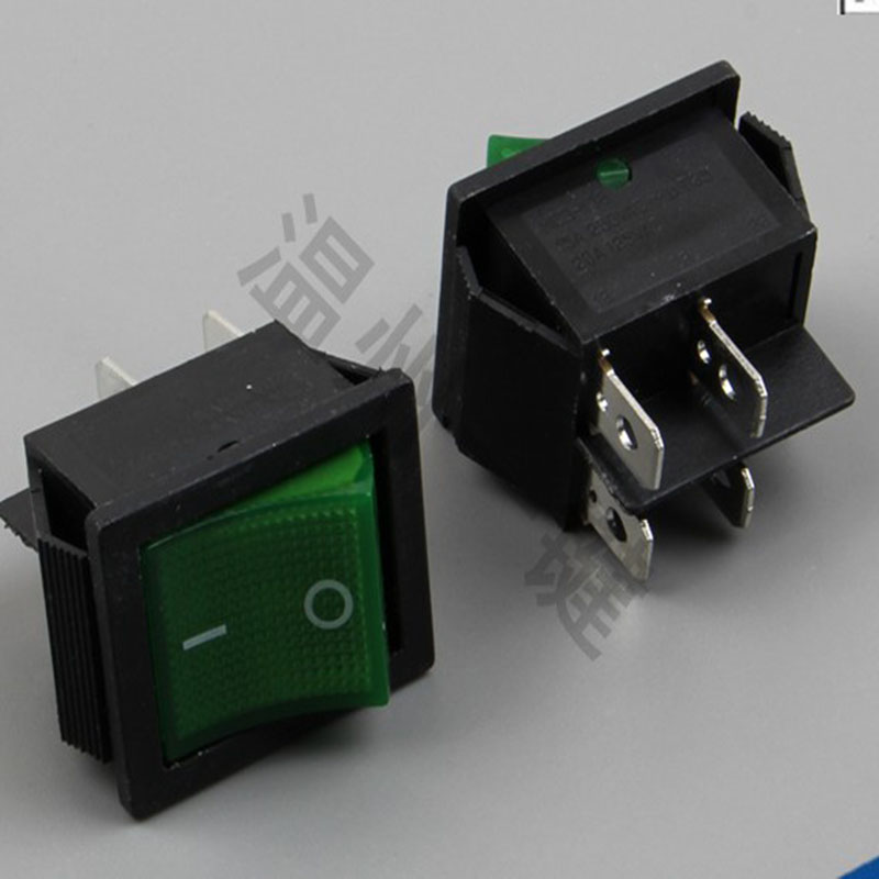 Green ship type switch KCD4-201 4 feet 2 files with lamp 16 a 250 v цена