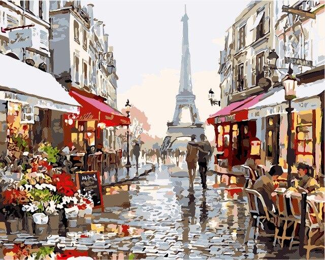 Безрамное 40x50 см картина на стене акриловая краска по номерам diy картина маслом раскраски по номерам Романтический париж