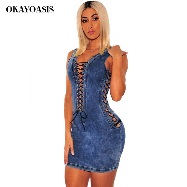 caabacc5213 Lace Up Sleeveless Denim Dress Women Summer Sexy Hollow Out Eyelets Back Zipper  Bodycon Mini Blue Jeans Dresses Party Outfits