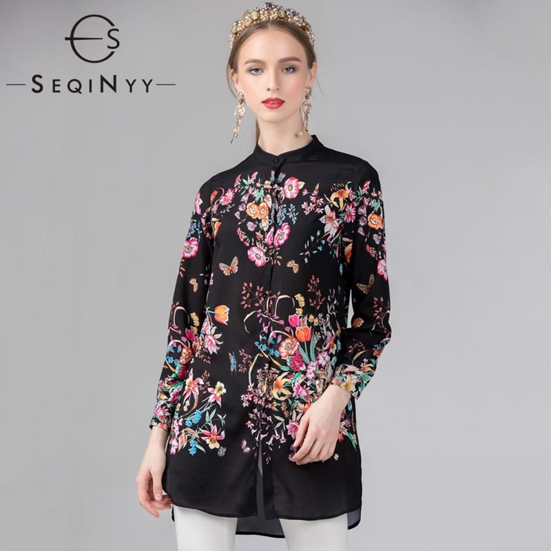 SEQINYY Long Shirt 2019 Summer New Fashion Design Long Sleeve Flowers Printed Loose Black Blouse Top