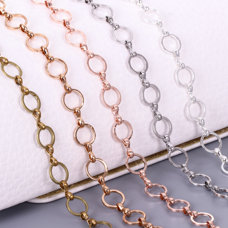 1m 8mm Round Closed Connection Chain Brass Handmade Necklace, Chain Accessories Charm Accessories DIY Discovery Accessories