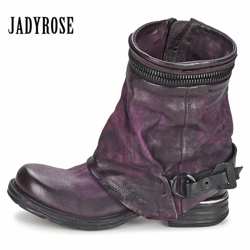 JADY ROSE Purple Genuine Leather Women Autumn High Boots Retro Short Riding Boot Flat Shoes Woman Ankle Booties Botas Militares