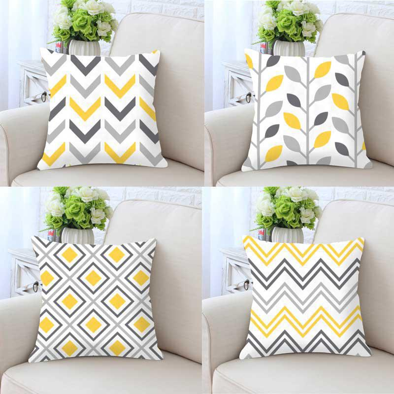 Us 4 33 38 Off Modern Minimalist Yellow Gray Geometric Cushion Cover Vintage Home Decor Triangle Hipster Pattern Pillow Case Double Sides Print In