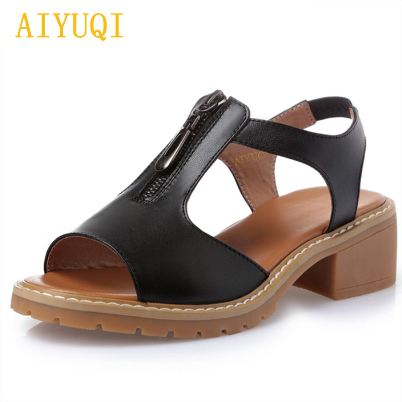 2018 summer new female genuine leather sandals plus size 41#42#43#comfortable breathable Korean ladies sandals beach shoes women aiyuqi 2018 spring new genuine leather women s sandals casual flat sandals women plus size 41 42 43 ladies sandals shoes women