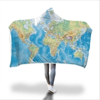 3D World Map Hooded Towel Flannel Bath Towel With Hood for Kids Adult Wearable Beach Wrap Blanket 1pc