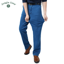 Man Middle-aged Jeans Middle Waist Loose Long Pants Male Solid Straight Jeans For Men Classical large size summer jeans 2017 new cheap Denim Zipper Fly Light REGULAR Stripe Lightweight Full Length Casual JUNGLE ZONE 801 Pockets
