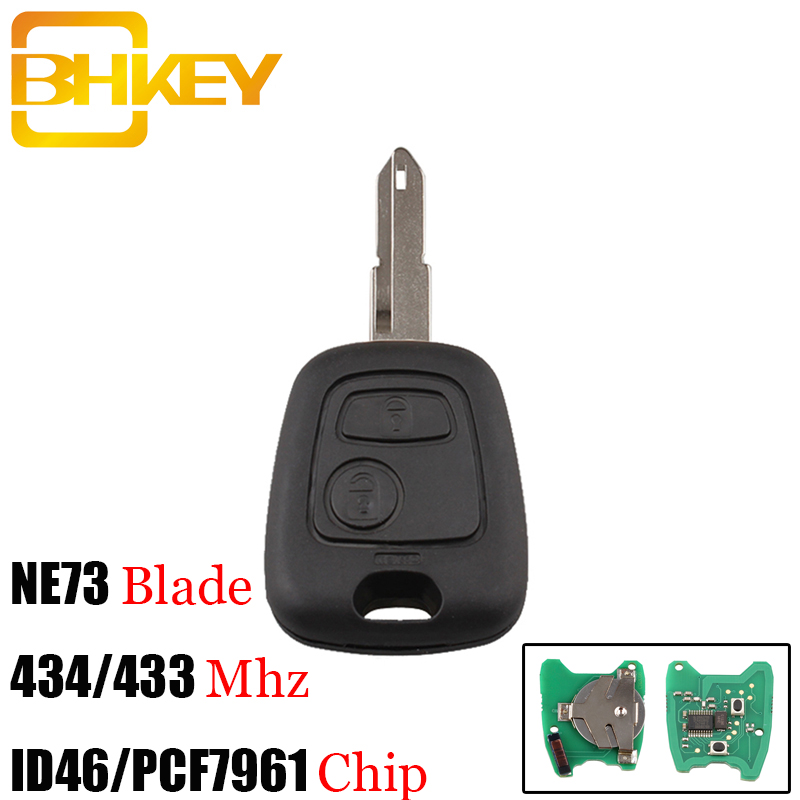 BHKEY 2 Buttons NE73 Blade Remote Key Fob Controller For PEUGEOT 206 433/434Mhz ID46/PCF7961 Transponder ChipBHKEY 2 Buttons NE73 Blade Remote Key Fob Controller For PEUGEOT 206 433/434Mhz ID46/PCF7961 Transponder Chip