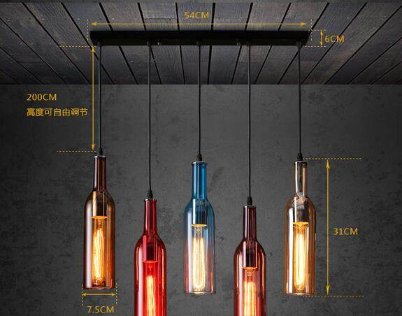 Online shop moderne korte kleurrijke glas steen fles hangende