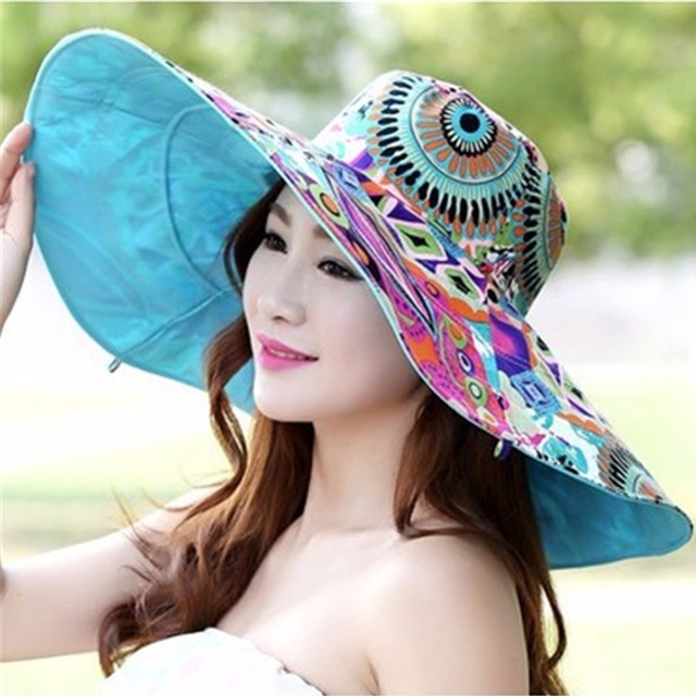 Large Brim Beach Sun Hats Summer UV Protection Women Caps With Big Head  Foldable 2 Side Wearable Style Fashion Lady Travel Hat 0accb3b2e480