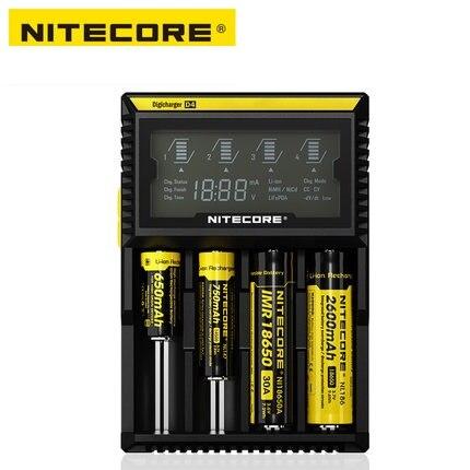 NITECORE оригинальный D4 Digi Зарядное устройство ЖК-дисплей Универсальное зарядное устройство Fit 18650 14500 16340 26650 18350 с зарядный кабель
