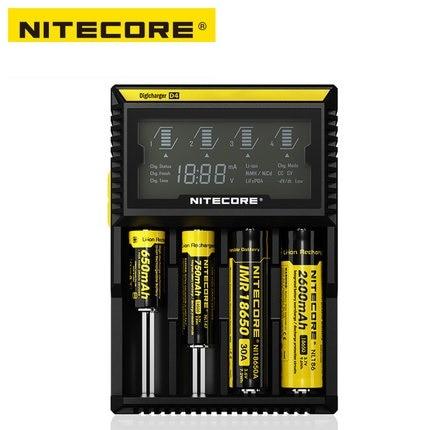 NITECORE originale D4 Digicharger Display LCD Caricatore Universale Fit 18650 14500 16340 26650 18350 con Cavo di Ricarica