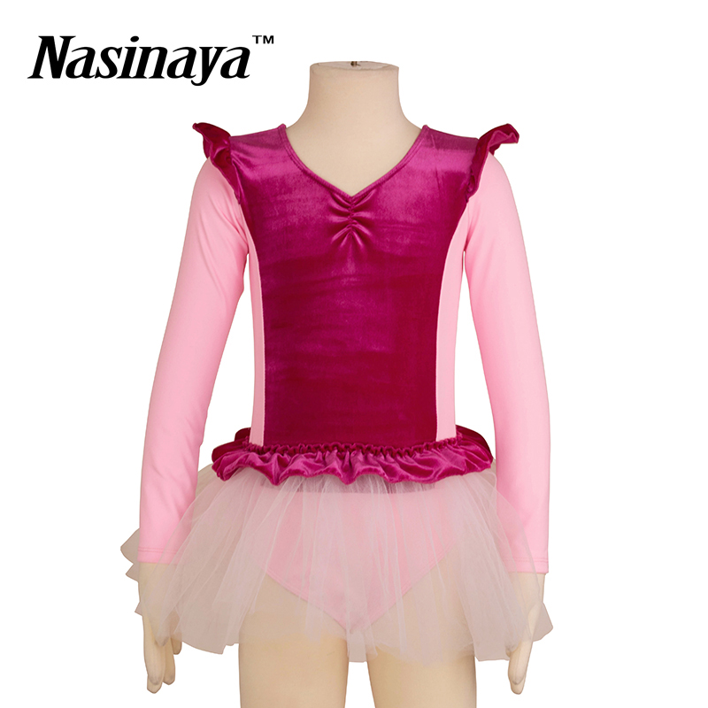 Kid Girls Rhythmic Gymnastics Leotard RG Fitness Wear Long Sleeves Ballet Tutu Dress Dance Costume Children Training Clothes цена
