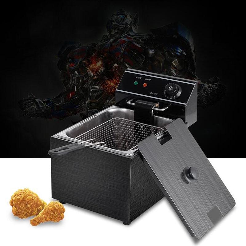 цена 220V 8L Electric blast furnace cylinder thickening fryer Grill Fried chicken Fried dough sticks furnace fries machine deep fryer