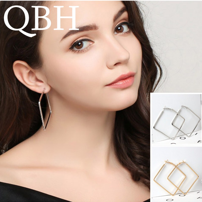 EK163 European Hyperbole Big Square Circle Hoop Earrings for Women Jewelry Geometric Rhombus Earrings Brincos S Bijouterie