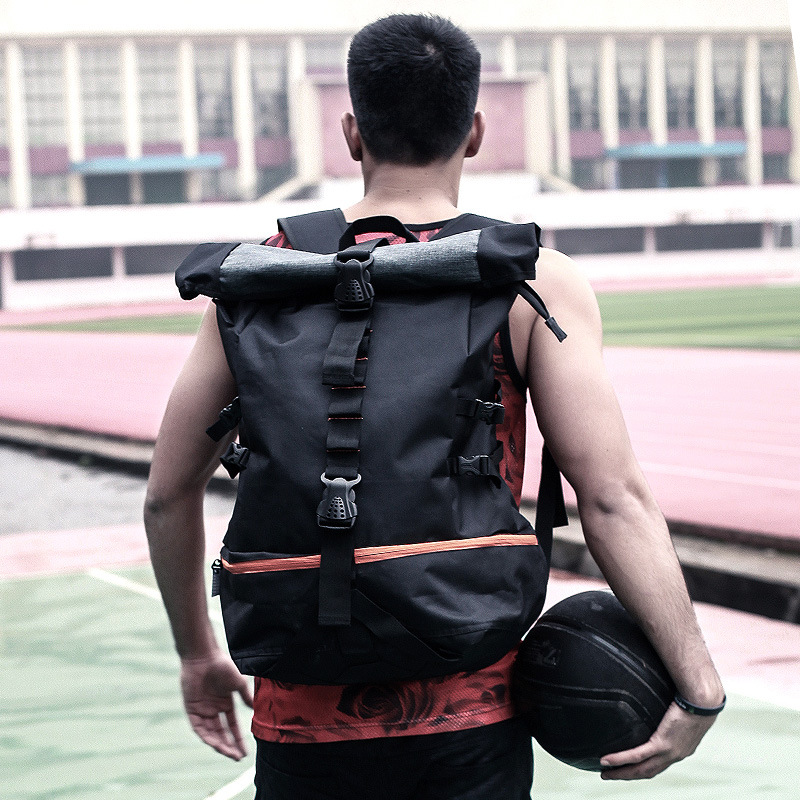 Men Gym Bags Outdoor Sport Large Capacity Basketball Backpack Rugby Hiking Double Shoulder Bag Laptop Rucksack Training Pack